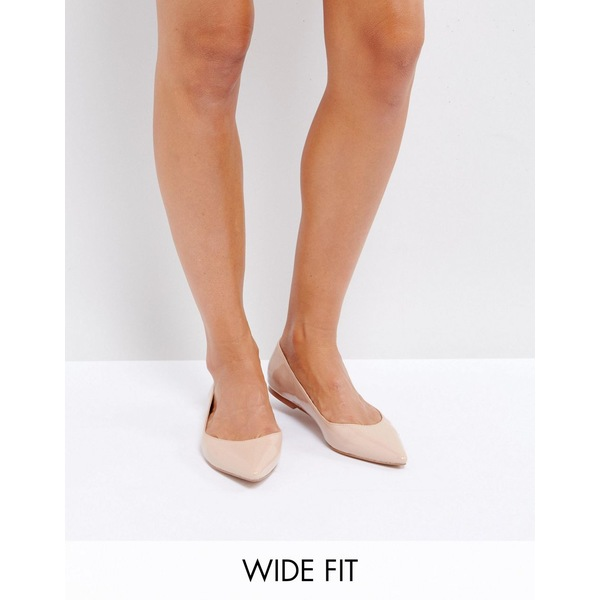エイソス レディース サンダル シューズ ASOS DESIGN Wide Fit Latch pointed ballet flats Almond
