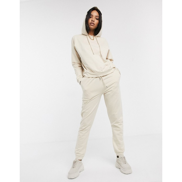 エイソス レディース カジュアルパンツ ボトムス ASOS DESIGN tracksuit hoodie / slim jogger with tie in organic cotton Beige
