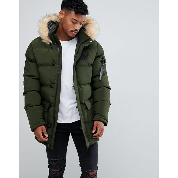 シックシルク メンズ ジャケット&ブルゾン アウター SikSilk parka jacket with faux fur hood in khaki Khaki