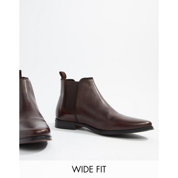 エイソス メンズ ブーツ&レインブーツ シューズ ASOS DESIGN Wide Fit chelsea boots in brown leather with brown sole Brown