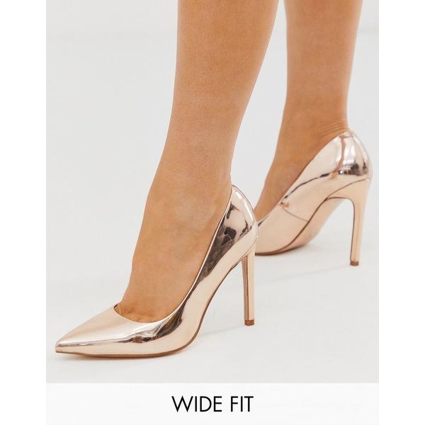 結婚祝い エイソス レディース ヒール シューズ ASOS DESIGN Wide Fit Porto pointed high heeled pumps in rose gold Rose gold mirror, SHOETIME 4313dd16