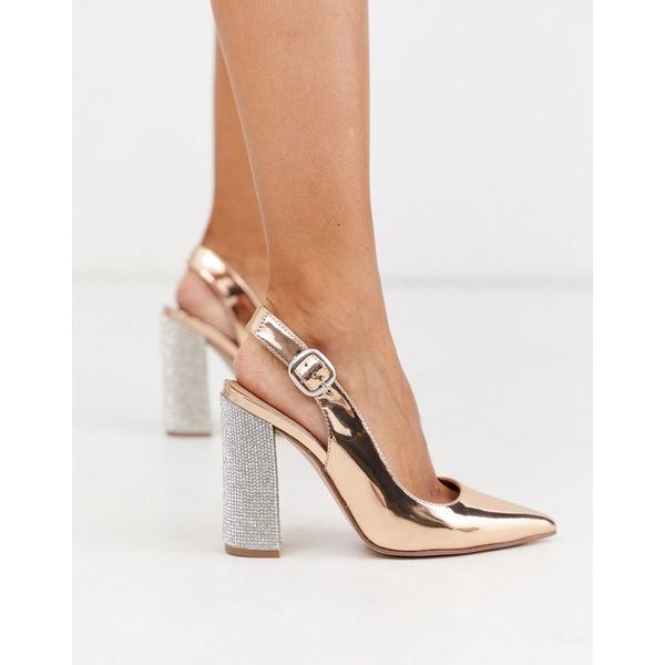 エイソス レディース ヒール シューズ ASOS DESIGN Penley embellished slingback high block heels in rose gold Rose gold