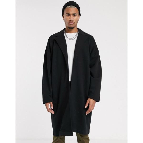 エイソス メンズ ジャケット&ブルゾン アウター ASOS DESIGN extreme oversized duster jacket in black with back taping Black