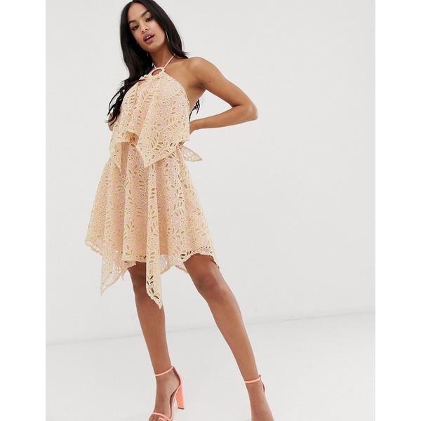 エイソス レディース トップス ワンピース Pink 全商品無料サイズ交換 ASOS DESIGN double lace 新作販売 layer cutwork 祝日 with mini dress in