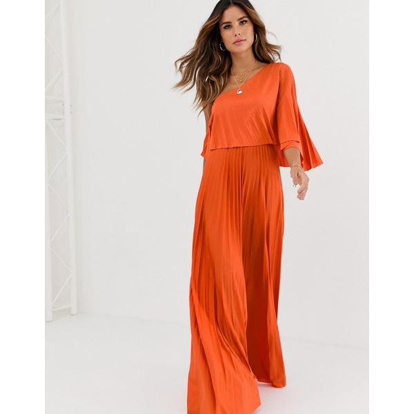 エイソス レディース ワンピース トップス ASOS DESIGN one shoulder pleated crop top maxi dress Orange