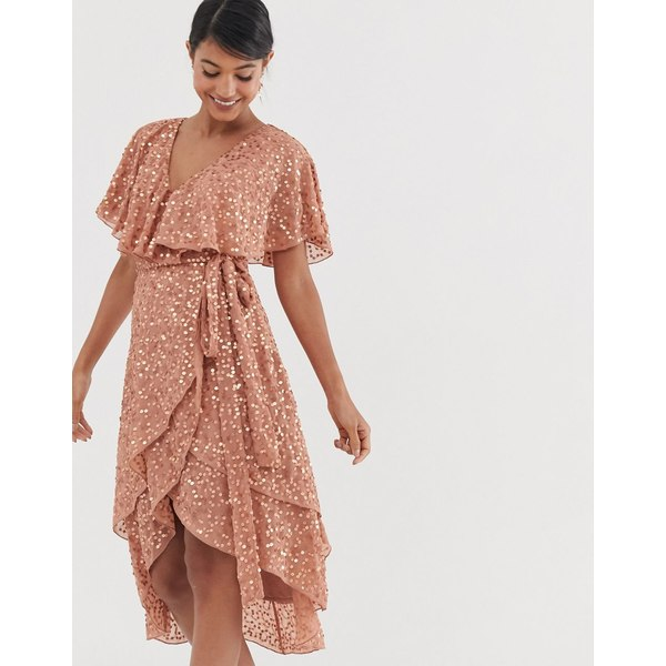 エイソス レディース ワンピース トップス ASOS DESIGN midi dress with cape back and dip hem in scatter sequin Copper