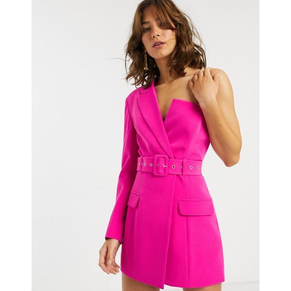 エイソス レディース ジャケット&ブルゾン アウター ASOS DESIGN asymmetric belted longline blazer Pink