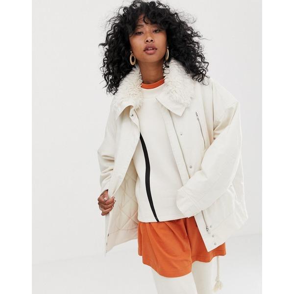 ウィークデイ レディース ジャケット&ブルゾン アウター Weekday short parka jacket with faux fur collar in off white Off white