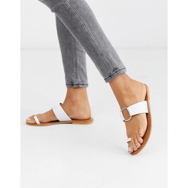 エイソス レディース サンダル シューズ ASOS DESIGN Feline leather toe loop sandal in white White