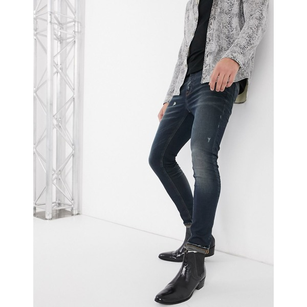 エイソス メンズ デニムパンツ ボトムス ASOS DESIGN super skinny jeans 'honestly worn' in vintage dark wash with abrasions Dark wash vintage