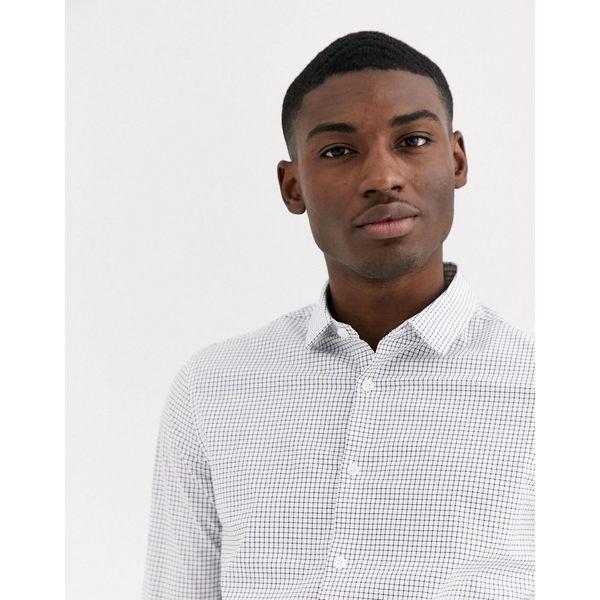 エイソス メンズ シャツ トップス ASOS DESIGN slim fit black and white grid shirt White
