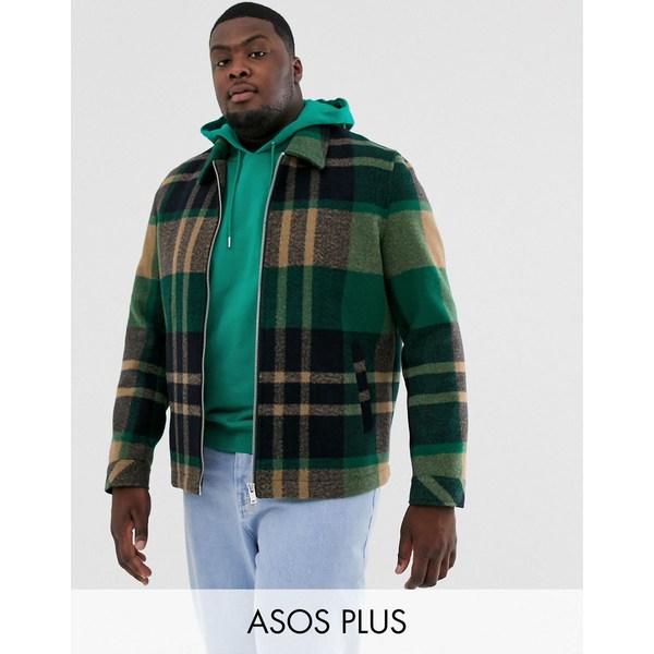エイソス メンズ ジャケット&ブルゾン アウター ASOS DESIGN Plus wool mix zip through jacket in gray and orange check Green