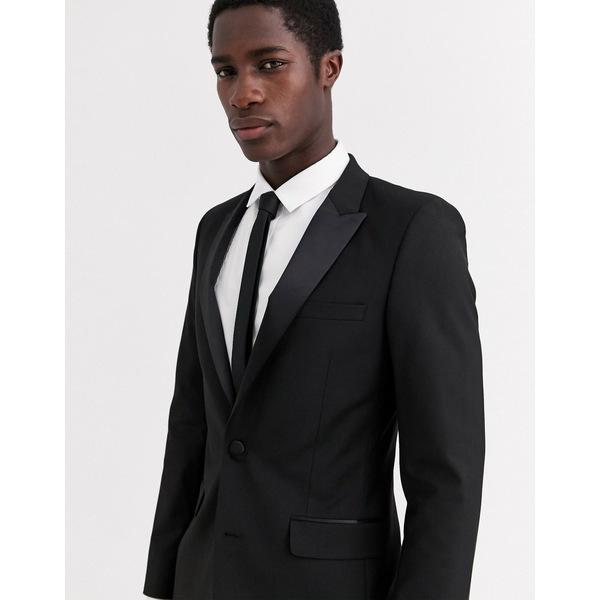 エイソス メンズ ジャケット&ブルゾン アウター ASOS DESIGN skinny tuxedo suit jacket in black Black