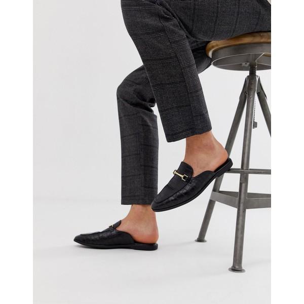 エイソス メンズ スリッポン・ローファー シューズ ASOS DESIGN backless mule loafer in black faux leather with croc effect Black