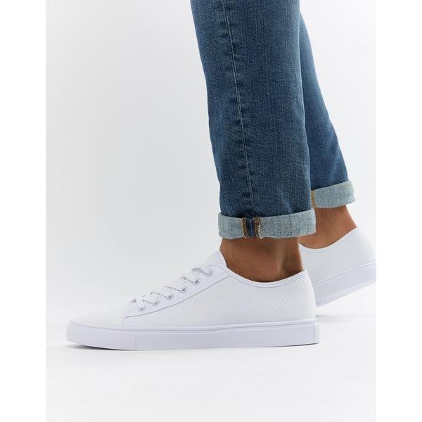 エイソス メンズ スニーカー シューズ ASOS DESIGN sneakers in white canvas White