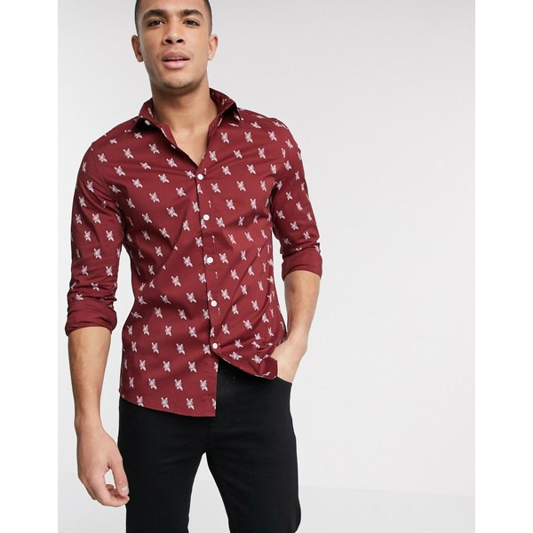 エイソス メンズ シャツ トップス ASOS DESIGN slim fit stretch shirt in burgundy rose print Burgundy