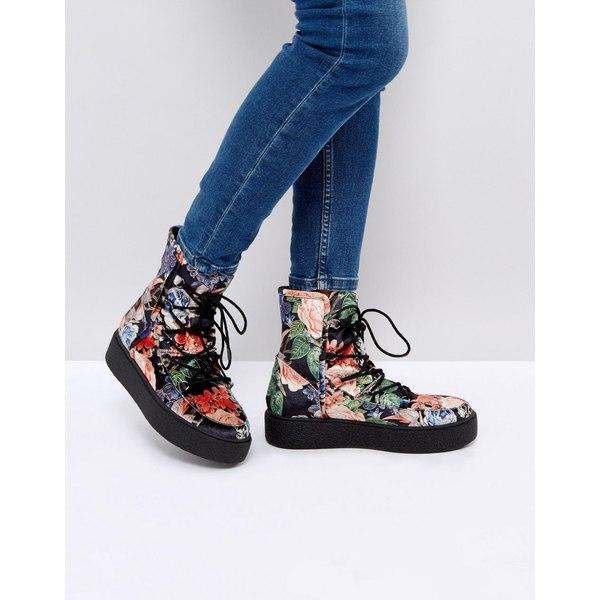 エイソス レディース ブーツ&レインブーツ シューズ ASOS ALARNA Lace Up Snow Boots Floral