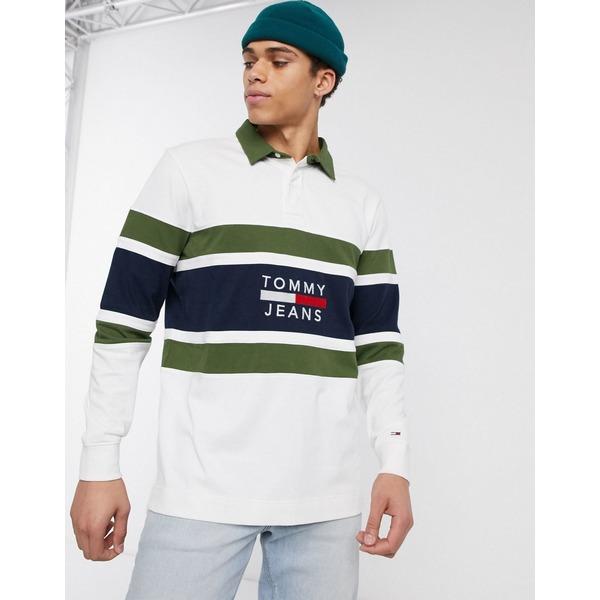 トミーヒルフィガー メンズ ポロシャツ トップス Tommy Jeans panel logo rugby top in white Classic white/cypres