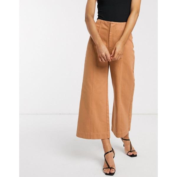 エイソス レディース デニムパンツ ボトムス ASOS DESIGN minimal cropped wide leg jeans with seam details in clay Tobacco