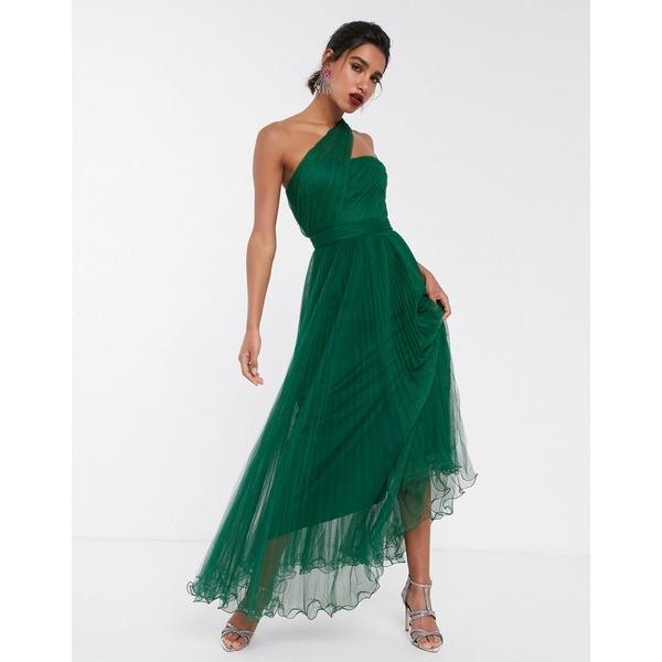 エイソス レディース トップス ワンピース Forest green 全商品無料サイズ交換 エイソス レディース ワンピース トップス ASOS DESIGN one shoulder tulle wired hem maxi dress Forest green