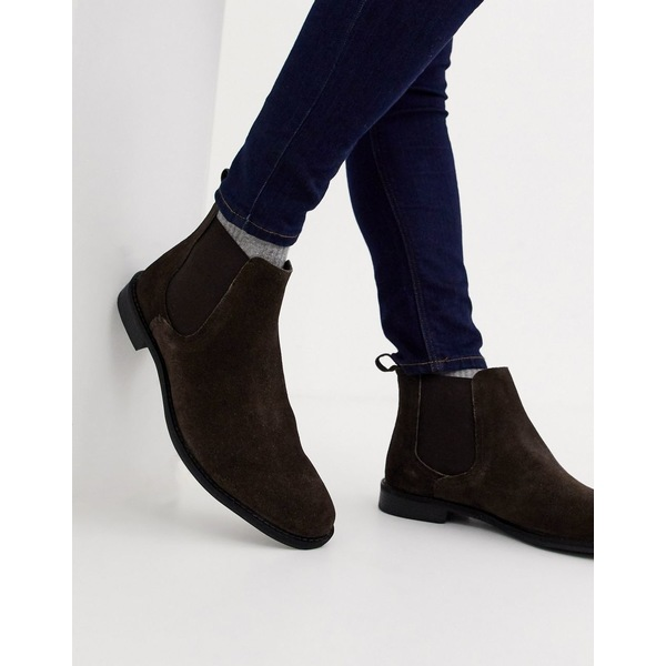エイソス メンズ ブーツ&レインブーツ シューズ ASOS DESIGN chelsea boots in brown suede with black sole Brown
