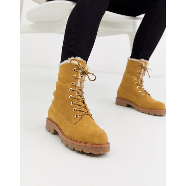 エイソス レディース ブーツ&レインブーツ シューズ ASOS DESIGN Atlantis suede fur lace up hiker ankle boot in sand Sand suede