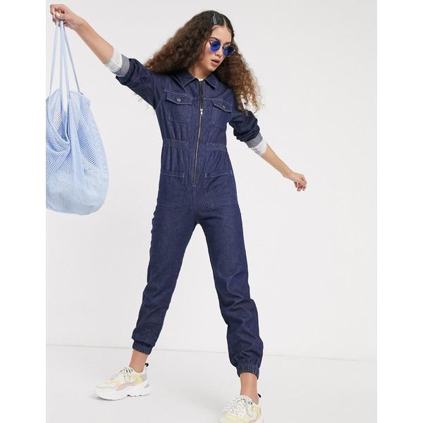 モンキ レディース ワンピース トップス Monki Day long sleeve denim jumpsuit in dark wash Dusty blue