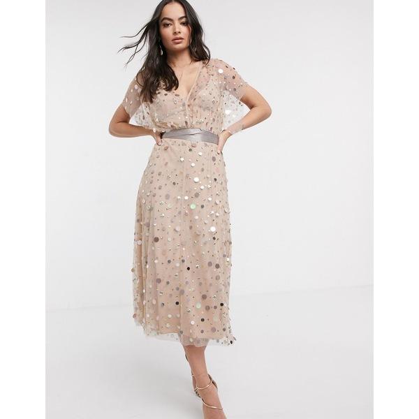 エイソス レディース ワンピース トップス ASOS DESIGN midi dress with mirror sequin and contrast tie Multi