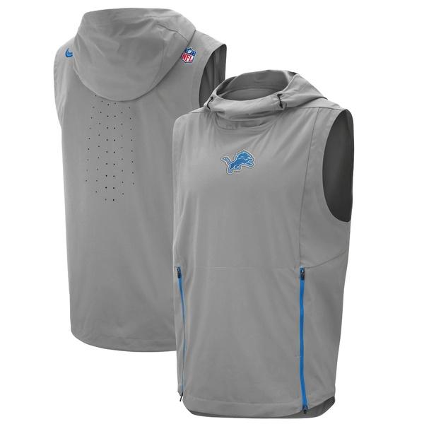 ナイキ メンズ ジャケット&ブルゾン アウター Detroit Lions Nike Sideline Fly Rush Performance Pullover Hooded Vest Gray