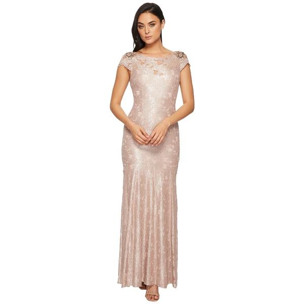 アドリアナ パペル レディース ワンピース トップス Long Metallic Lace Cap Sleeve Gown Silver Quartz