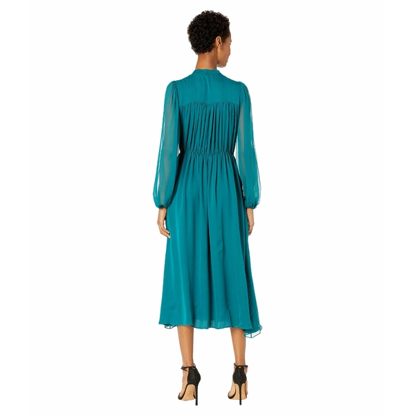 アダム リピズ レディース ワンピース トップス Silk Chiffon Long Sleeve Dress wElastic Waist PeacockkwP8n0O