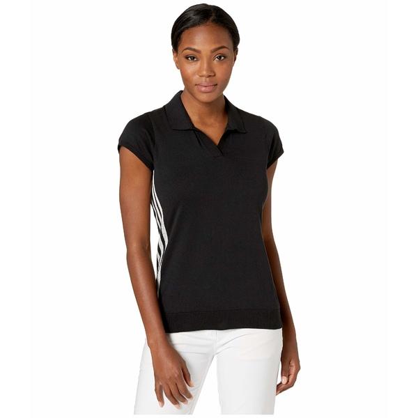 アディダス レディース シャツ トップス Sweater Knit Short Sleeve Polo Black