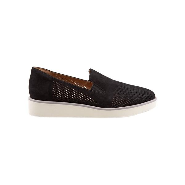 ソフトウォーク レディース スニーカー シューズ Whistle Perforated Leather Platform Wedge Sneakers Black