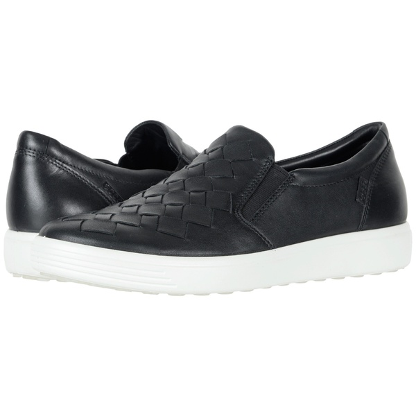 エコー レディース スニーカー シューズ Soft 7 Woven Slip-On Black Cow Leather/Cow Nubuck