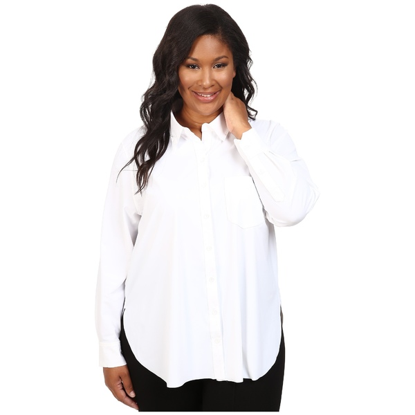 リジー レディース シャツ トップス Plus Size Schiffer Stretch Button Down White