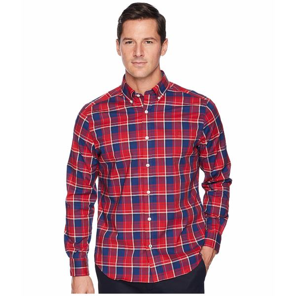 ナウティカ メンズ シャツ トップス Long Sleeve Wear to Work Classic Plaid Shirt Rescue Red