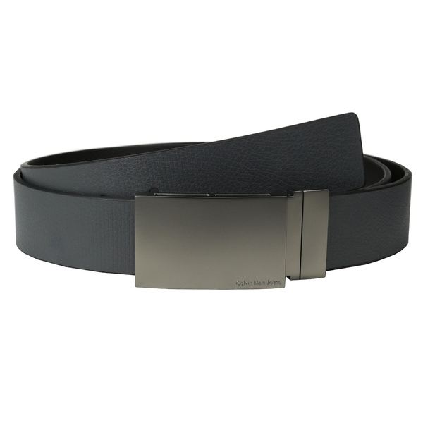 カルバンクライン メンズ ベルト アクセサリー 38MM Reversible Flat Strap Smooth/Leather w/ Embossed Lines Grey Black