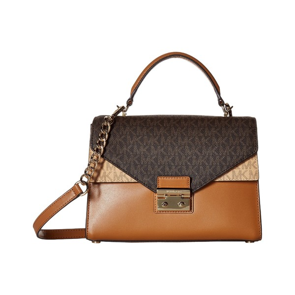f26e6509d228 マイケルコース レディース ハンドバッグ バッグ Sloan Medium Double Flap Top-Handle Satchel  Brown/Butternut