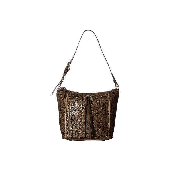 cc4ee360d468 アメリカンウェスト レディース ハンドバッグ バッグ Hill Country Zip Top Bucket Tote Distressed  Charcoal Brown/Sand