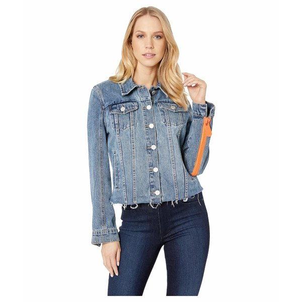ブランクニューヨーク レディース コート アウター Denim Jacket with Orange Zipper Sleeves in Sliding Doors Sliding Doors