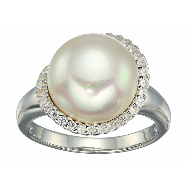 マジョリカ レディース リング アクセサリー Rosa 12mm White Flat Pearl w/ CZ Ring On Sterling Silver White