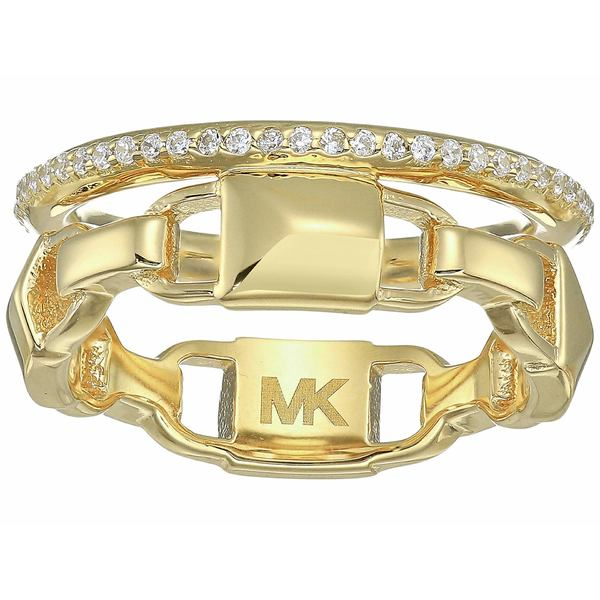 マイケルコース レディース リング アクセサリー Precious Metal-Plated Sterling Silver Mercer Link Pav Halo Ring Gold