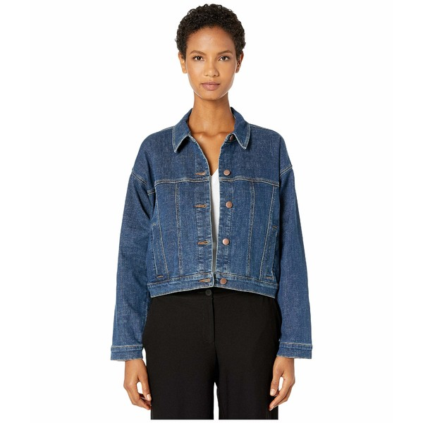 エイリーンフィッシャー レディース コート アウター Organic Cotton Stretch Denim Classic Cropped Jean Jacket Aged Indigo