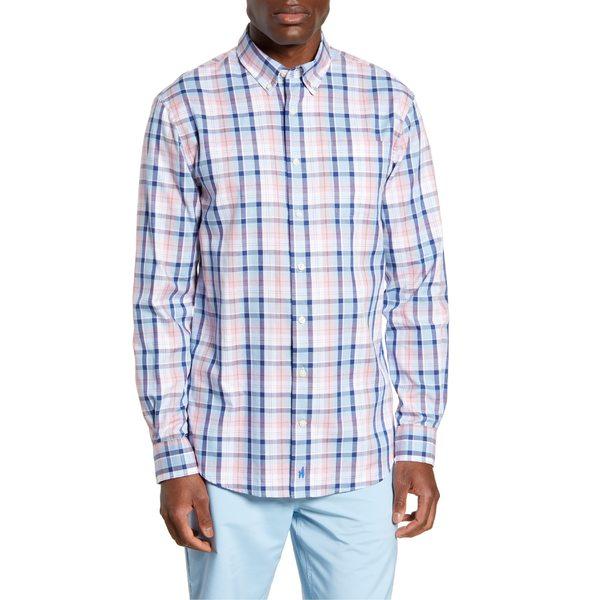 ジョニーオー メンズ シャツ トップス johnnie-O Basie Classic Fit Plaid Button-Down Shirt Gulf Blue