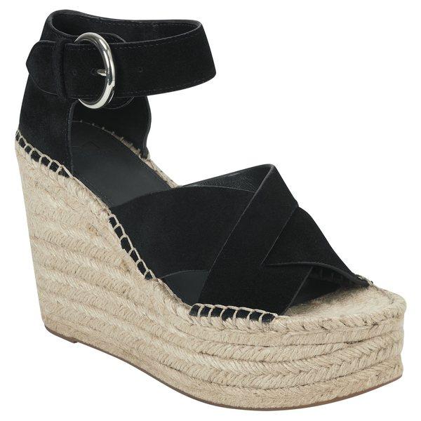 マーク・フィッシャー レディース サンダル シューズ Marc Fisher LTD Amari Ankle Strap Espadrille Wedge (Women) Black Suede