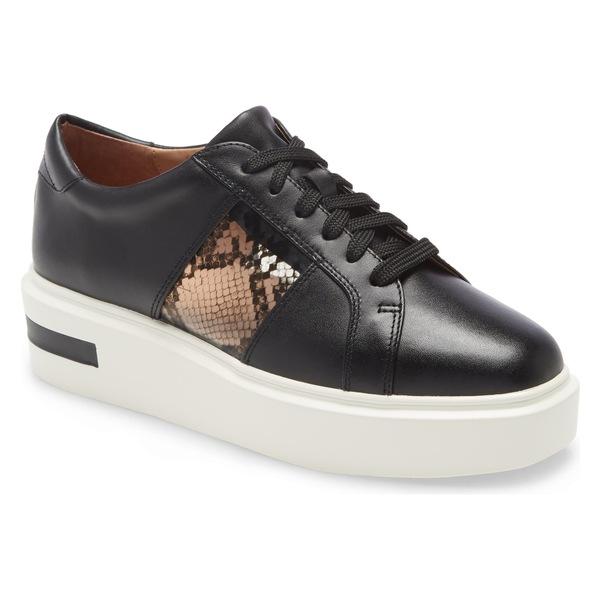 リネアパウロ レディース スニーカー シューズ Linea Paolo Karis Platform Sneaker (Women) Black Leather