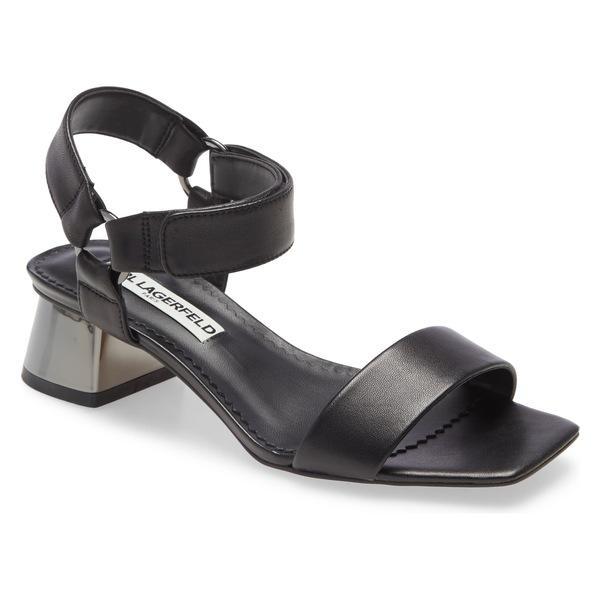 カールラガーフェルド レディース サンダル シューズ Karl Lagerfeld Paris Morico Square Toe Sandal (Women) Black Leather