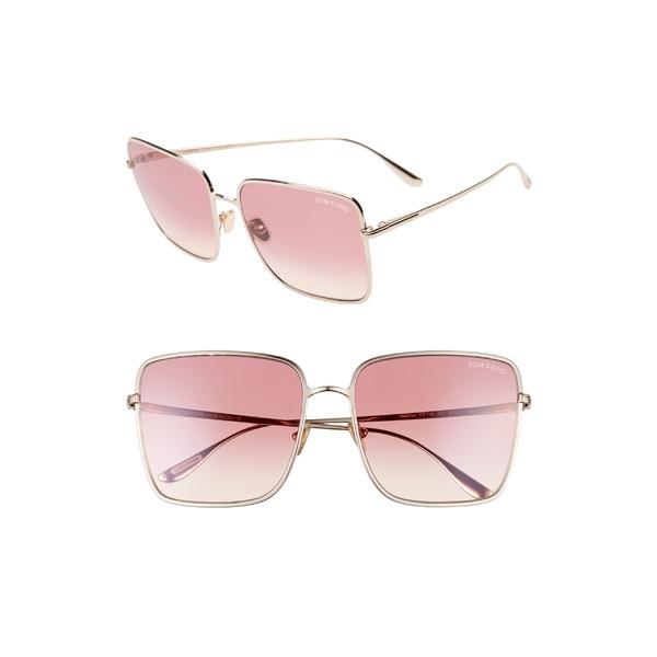 トム・フォード レディース サングラス&アイウェア アクセサリー Tom Ford Heather 60mm Polarized Flat Front Square Sunglasses Rose Gold/ Gradient Bordeaux