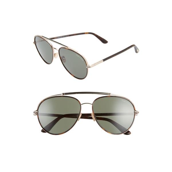 トム・フォード レディース サングラス&アイウェア アクセサリー Tom Ford Curtis 59mm Aviator Sunglasses Dark Havana/ Green