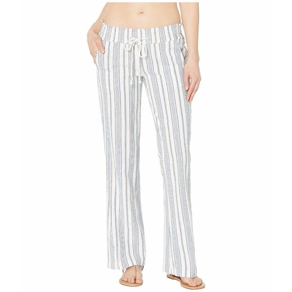 ロキシー レディース カジュアルパンツ ボトムス Oceanside Pants Yarn-Dye Snow White True Navy Beachside